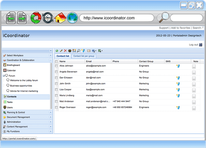 Free project management software - Contact Management